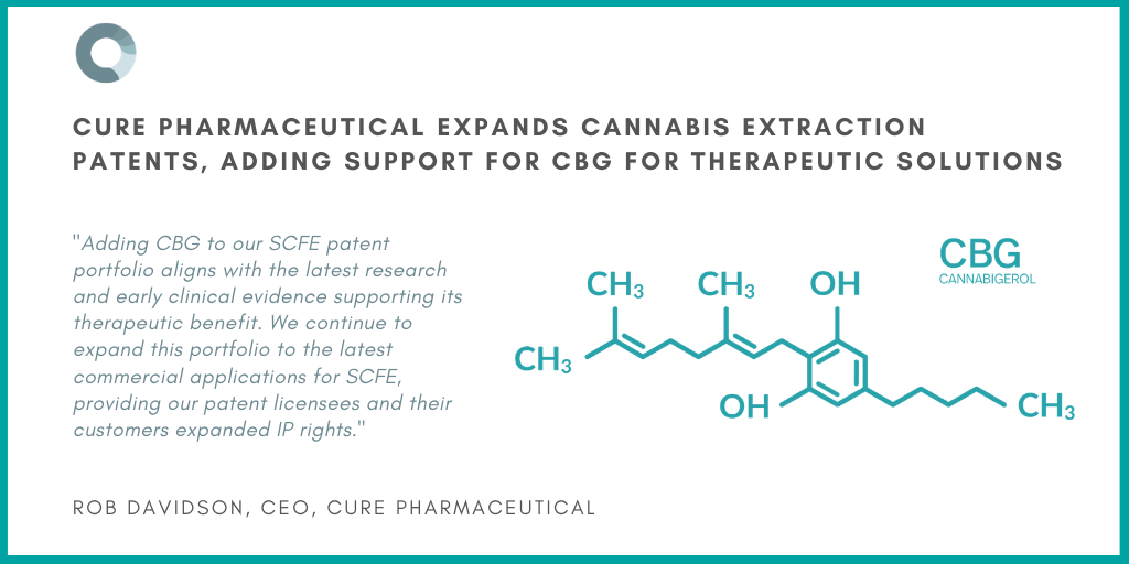 CURE Pharmaceutical Expands Cannabis Extraction Patents, Adding Support for CBG for Therapeutic Solutions