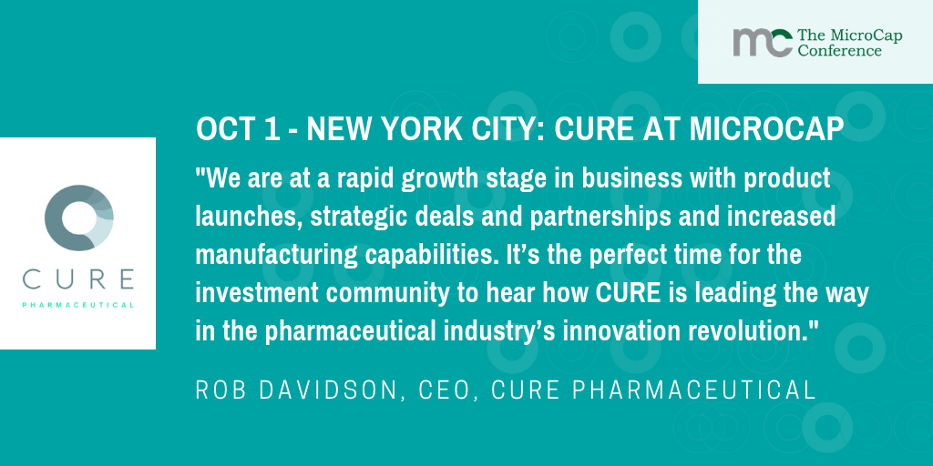 CURE Pharmaceutical to Present at the MicroCap Conference on October 1st and 2nd at Essex House